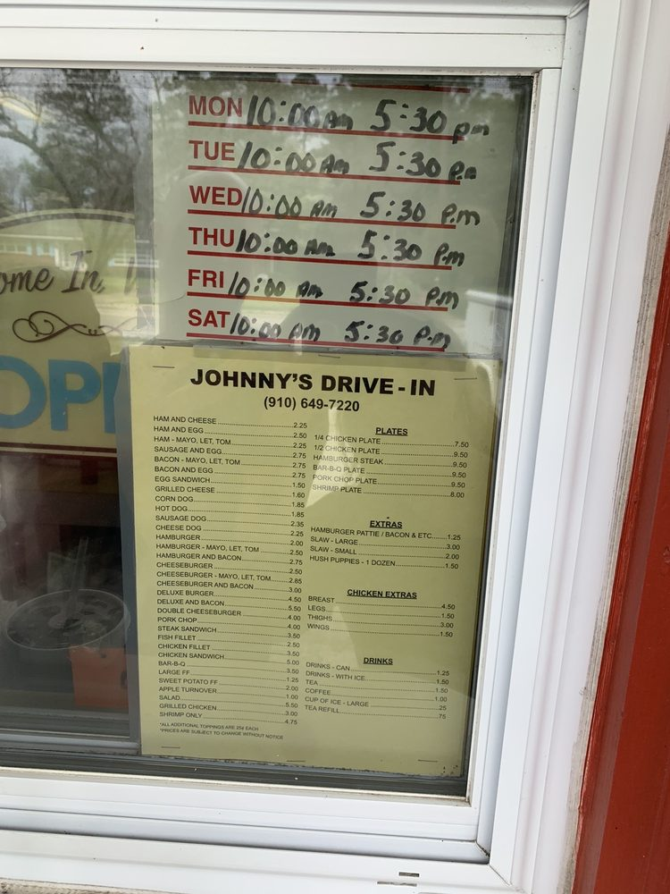 Johnny's Sandwich Shop: 899 Main St, Fair Bluff, NC