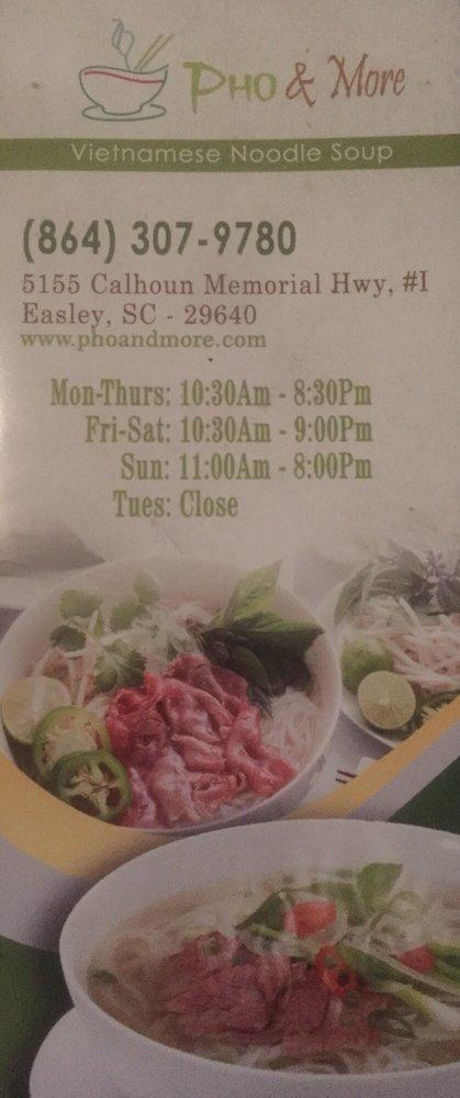 Pho & More: 5155 Calhoun Memorial Hwy, Easley, SC