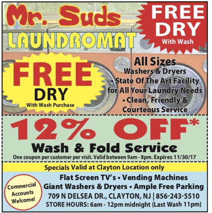 Mr Suds Laundromat: 709 N Delsea Dr, Clayton, NJ