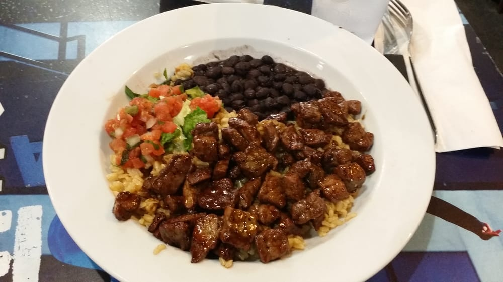 Maui steak bowl with brown rice and black beans - Yelp