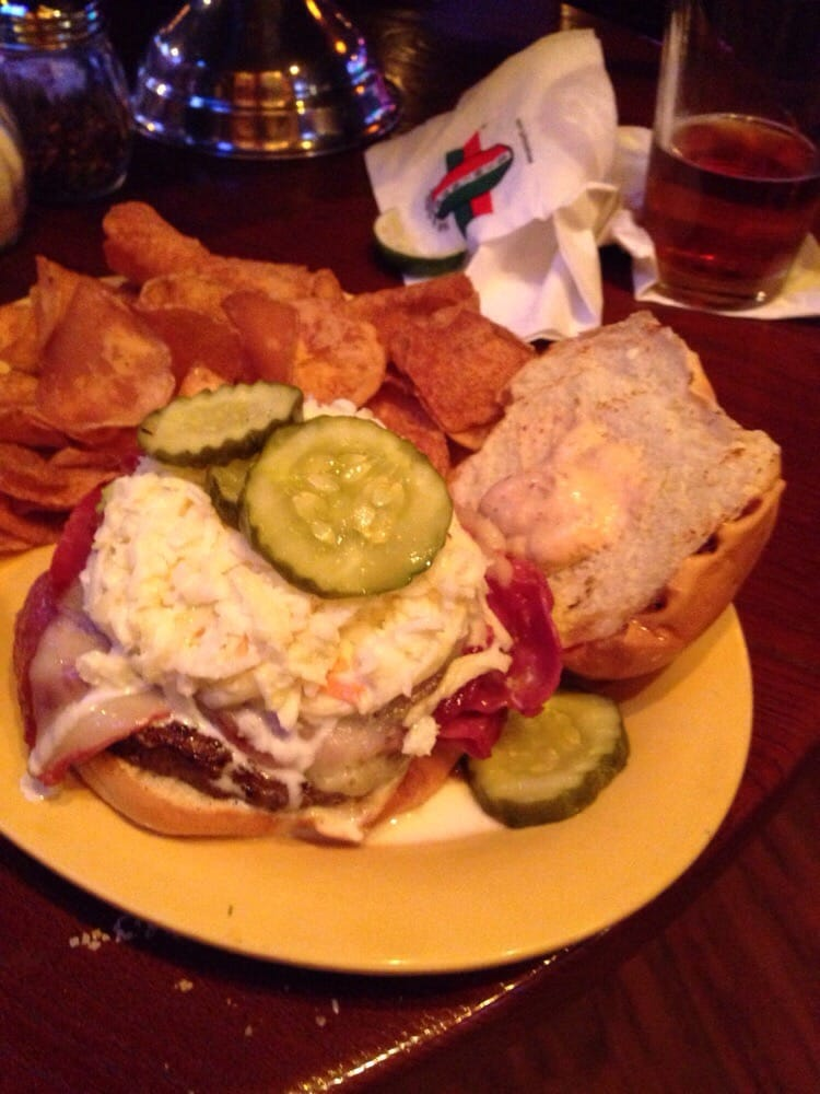 Leprechaun burger at Paninis. Burger with corned beef and Swiss ...