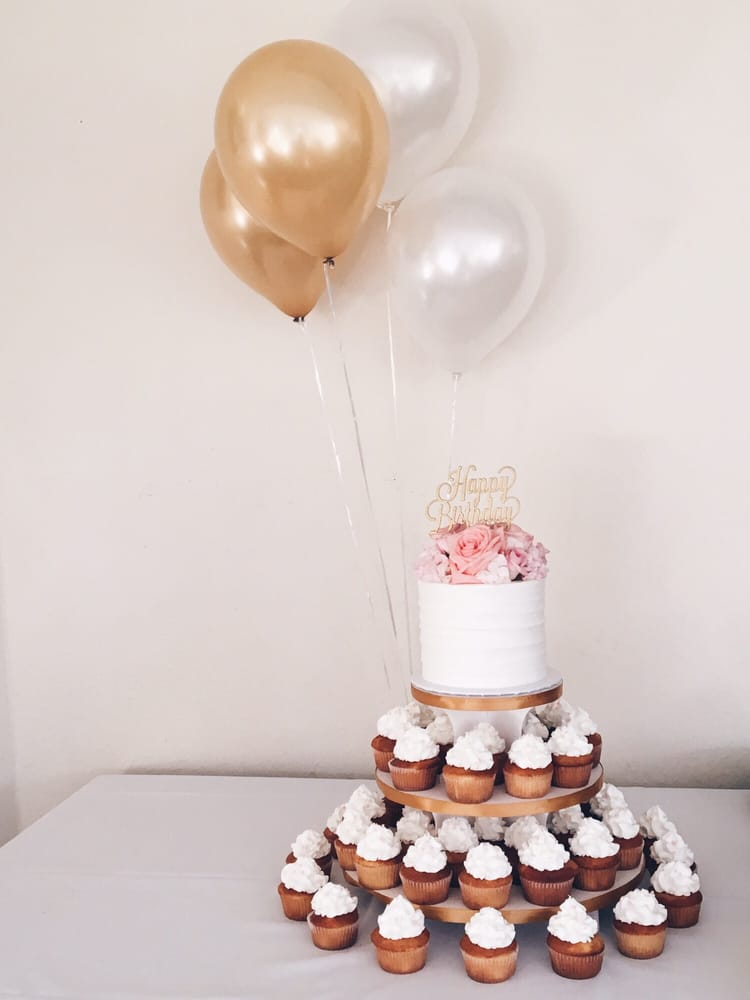50th Birthday Cake Topper With Cupcakes On A Three Tier Yelp