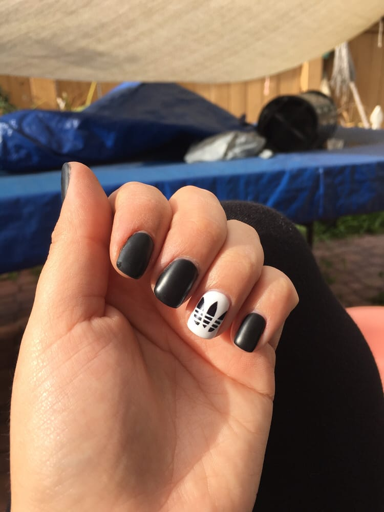 Black Matte Nails With The Adidas Symbol On Ring Finger Love Them