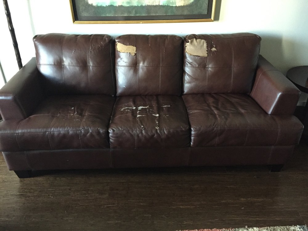 Peeling on Bonded Leather Sofa that I purchased from Simply Austin ...