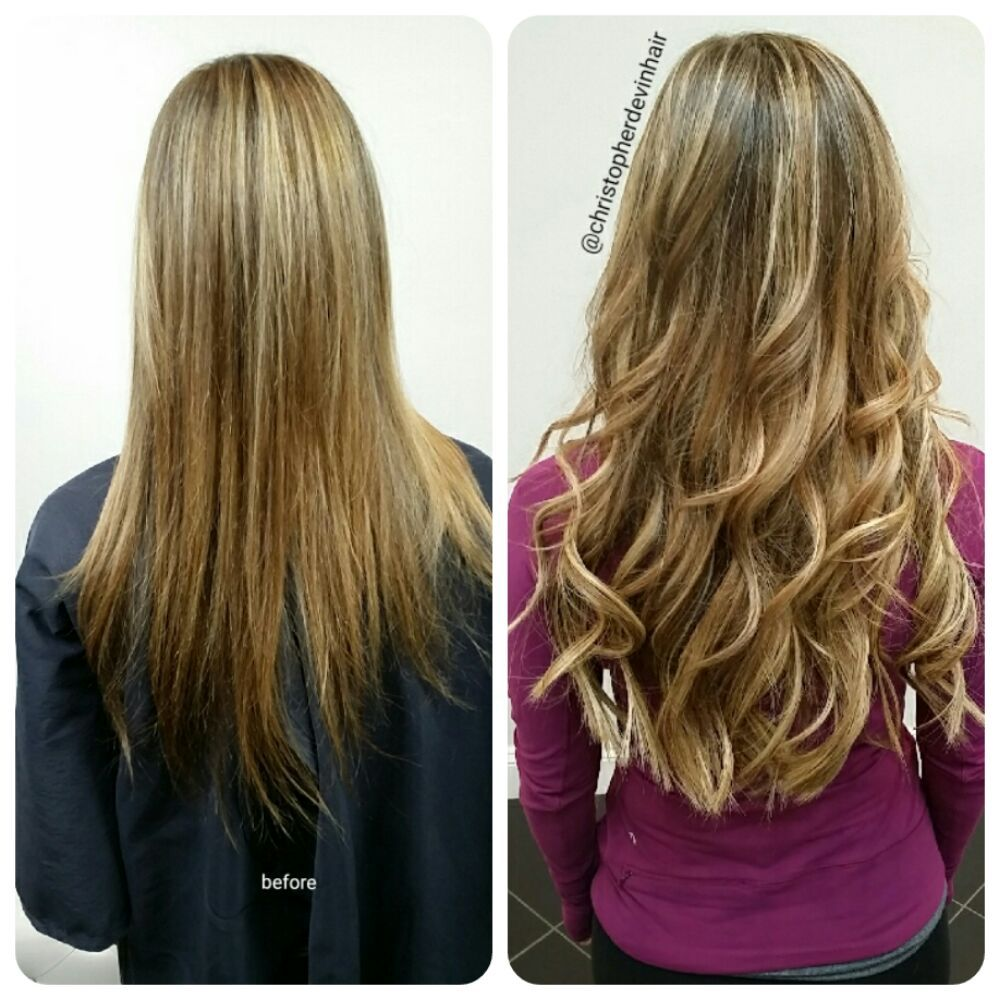 18 Inch Weft With Microlinks Hair Extensions Highlights And Balyage