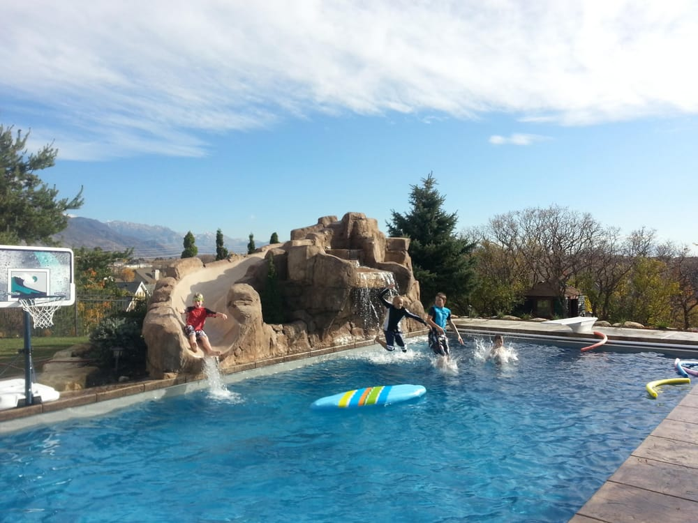 Custom Swimming Pools With Rock Slide Yelp