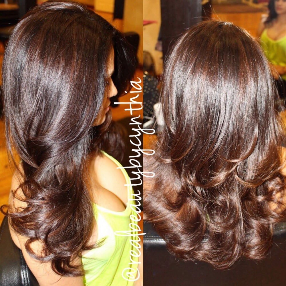 Golden chocolate brown highlights on dark brown hair sunkissed photo of hair by cynthia encino ca united states golden chocolate brown pmusecretfo Images
