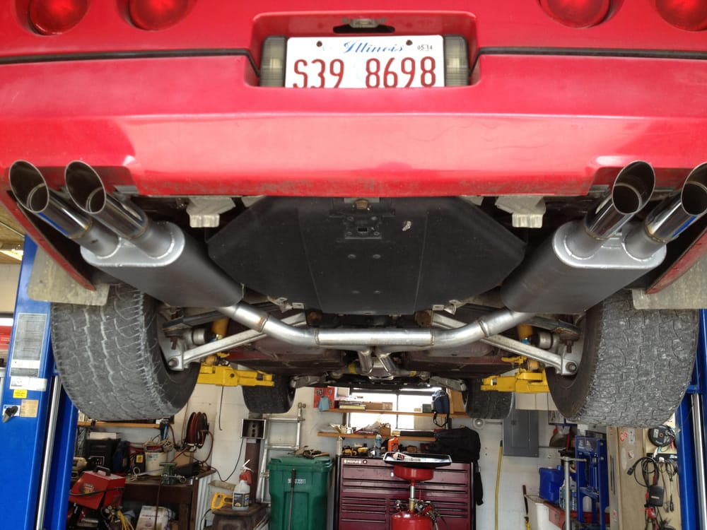 A CUSTOM TRUE DUAL PERFORMANCE EXHAUST SYSTEM INSTALLED ON A