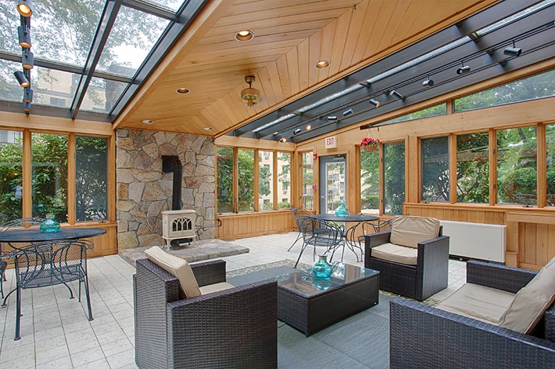 Indoor solarium with cozy fireplace - Yelp