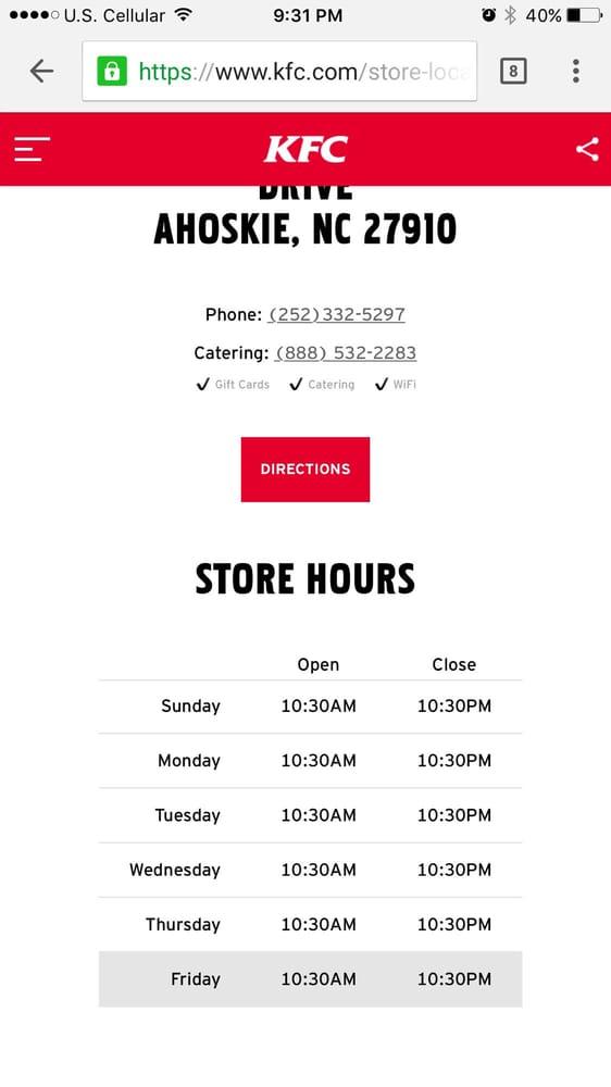KFC: 1500-10 E Memorial Dr, Ahoskie, NC