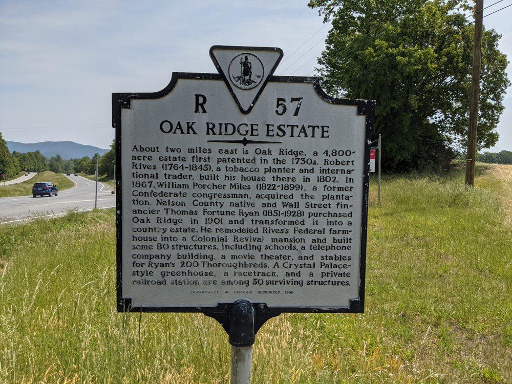 Oak Ridge Estate Historical Marker: US-29 & Oak Ridge Rd, VA, VA