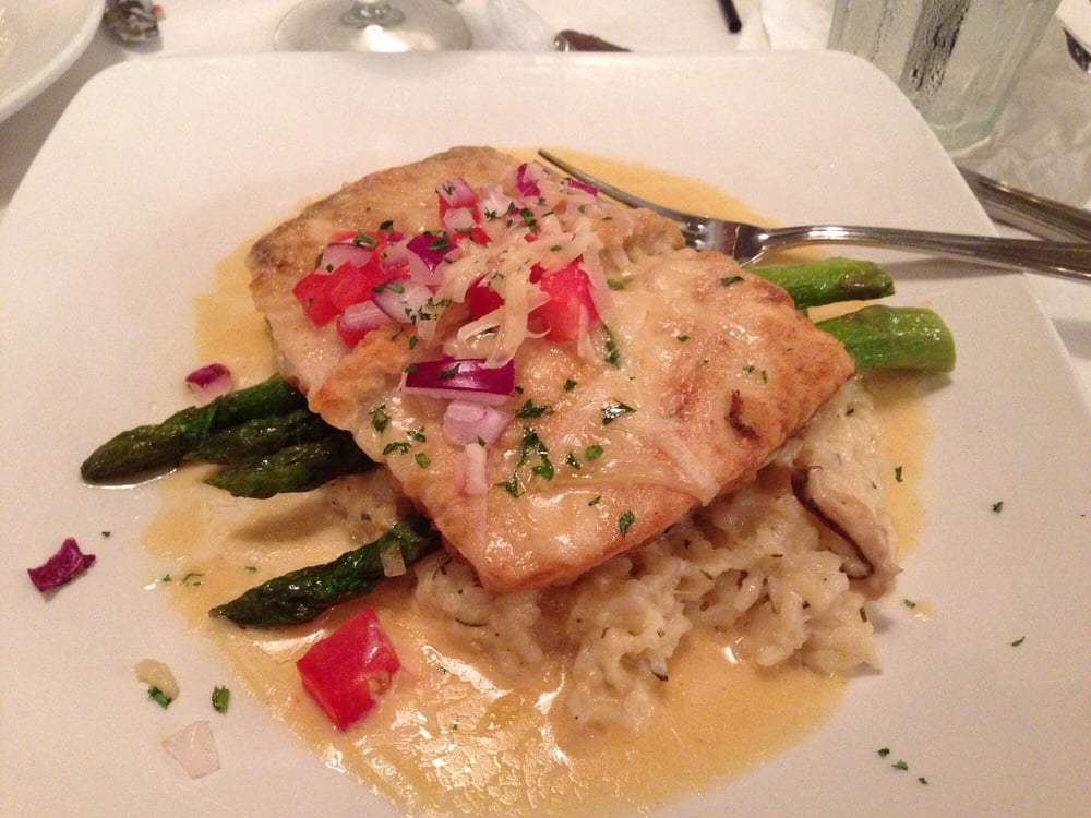 Amberjack with shiitake risotto and asparagus - topped w garlic cream ...
