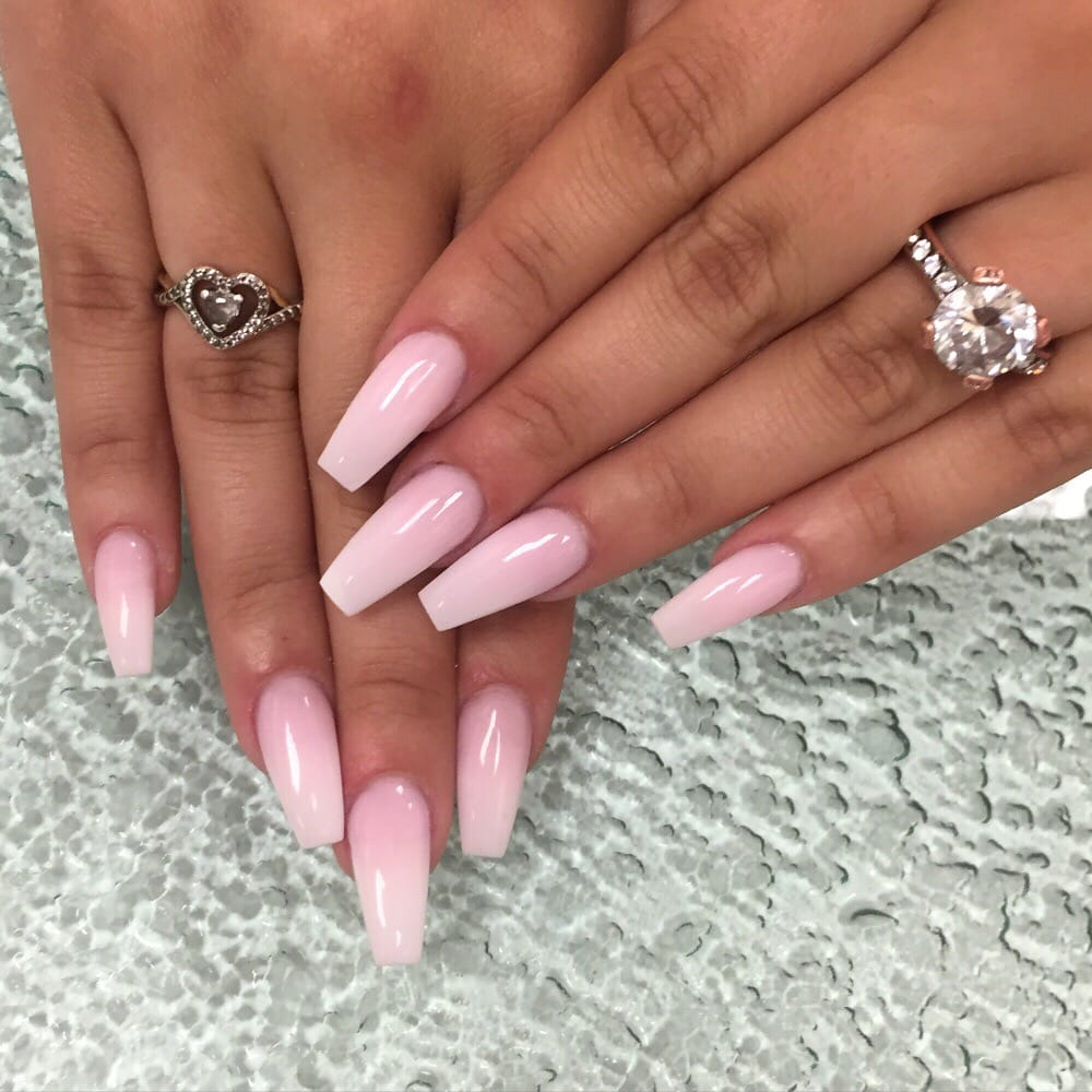 Coffin Shaped Ombré Pink & White Set \