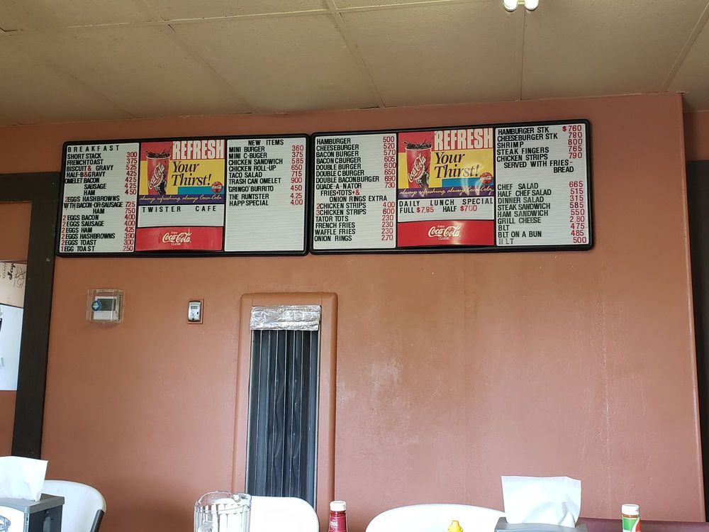 Twister Cafe: 124 W Main, Wakita, OK
