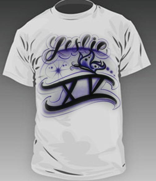 Custom airbrushed quincea eras t shirts for all the party for Custom t shirts fort worth