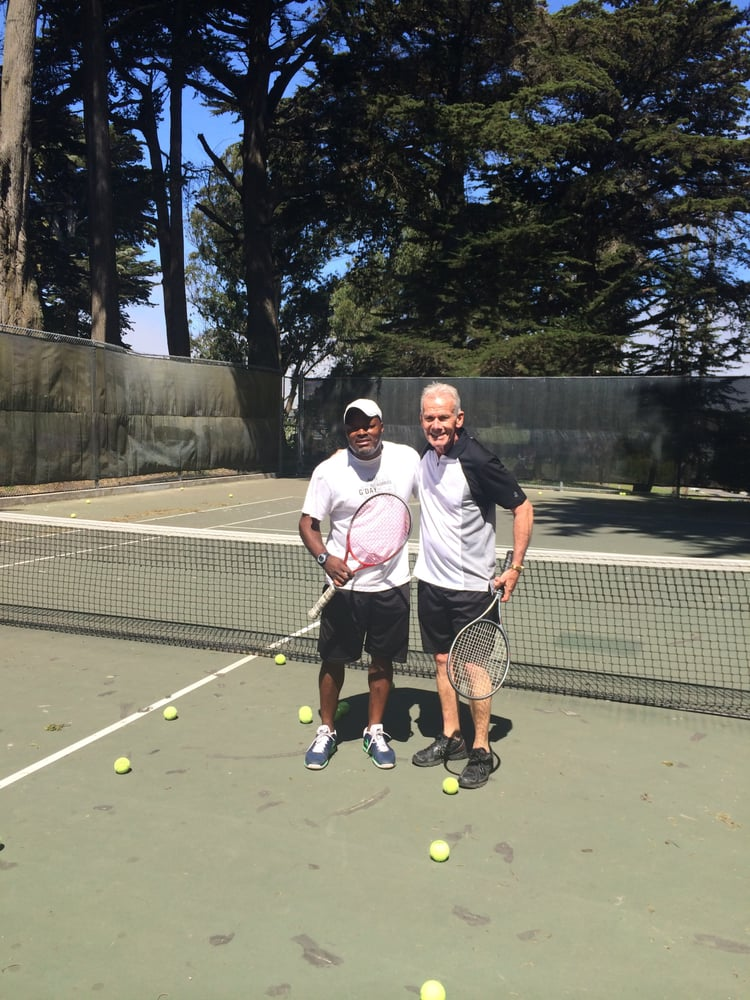 Tennis Lessons By Mcclain - San Francisco, CA, United States. Coach Mcclain with along time client Dave