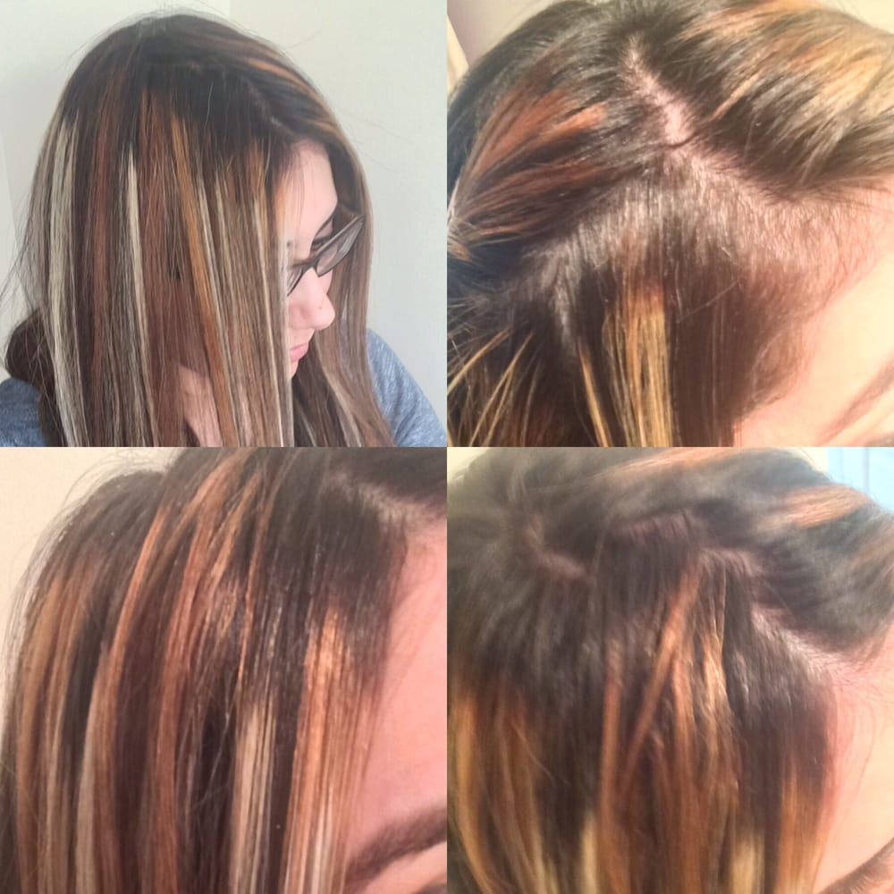 Hair Coloring With Black Roots And Old White Blonde Highlights Yelp