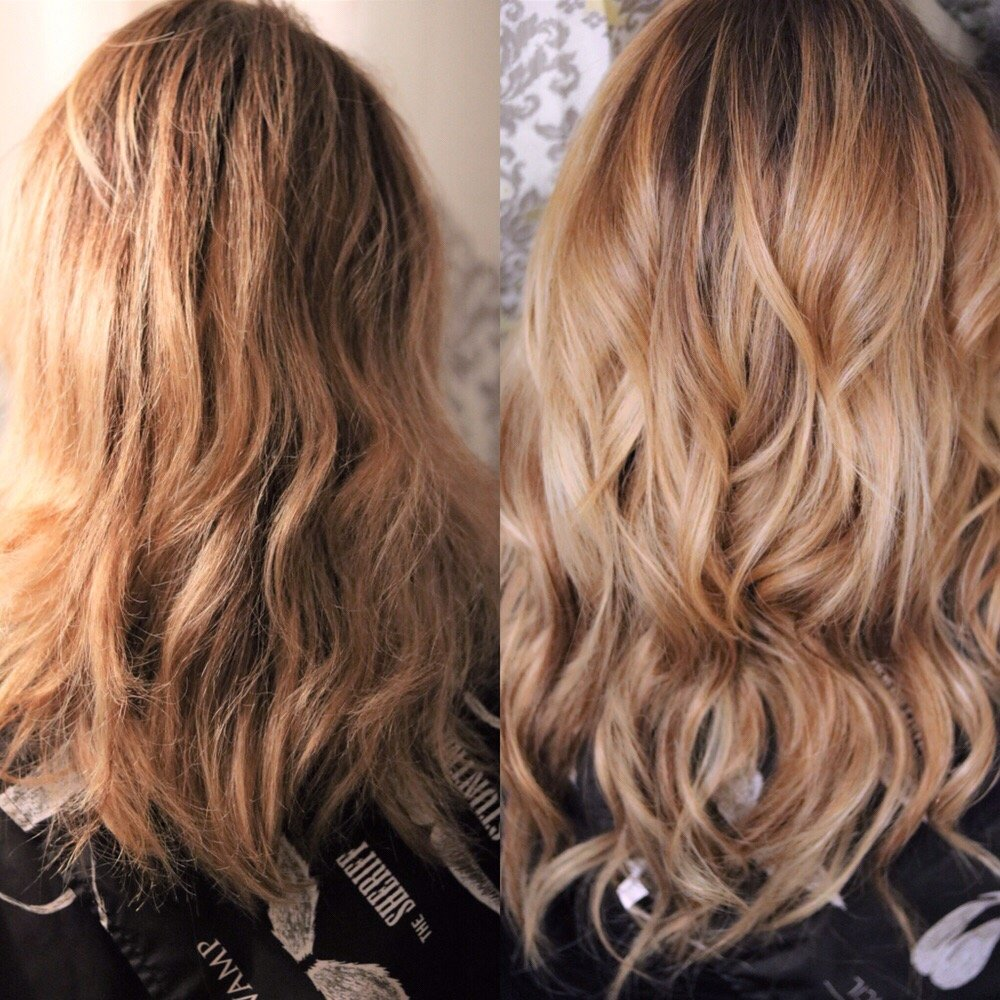 Before After Natural Beaded Row Hair Extensions Custom Cut And