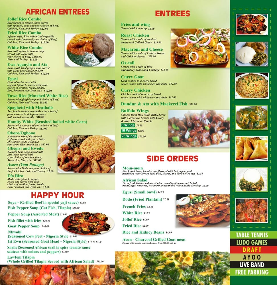 Lawfem african restaurant catering services 21 photos for African cuisine menu