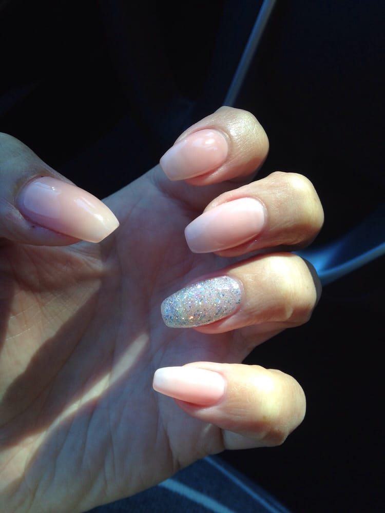 Nude gel paint over acrylic nails with silver sparkly for Acrylic nail salon