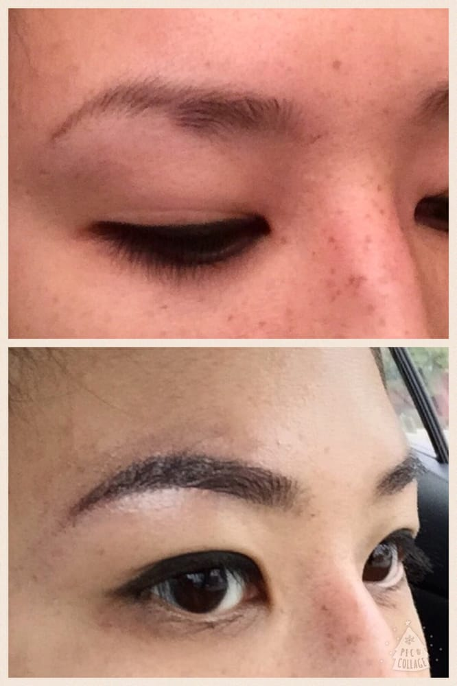 Before And After Of Eyebrows Done With A Micro Blade By A Skilled