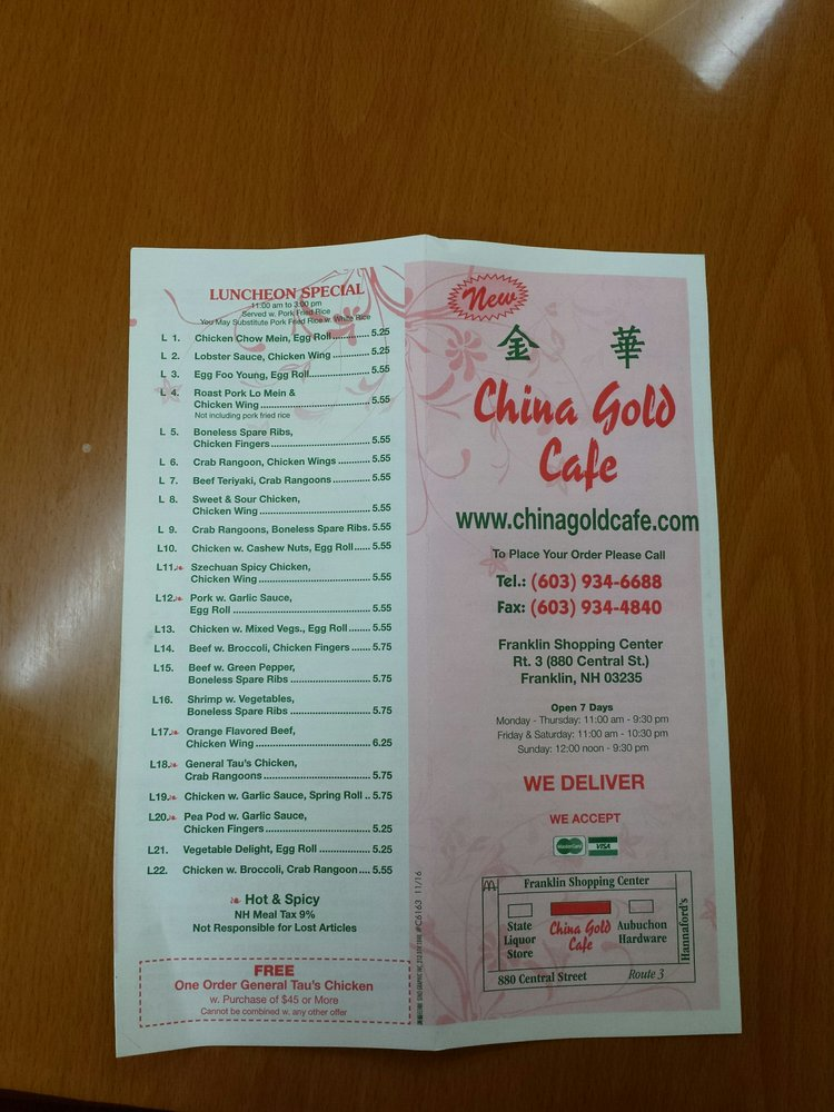 China Gold Cafe: 880 Central St, Franklin, NH