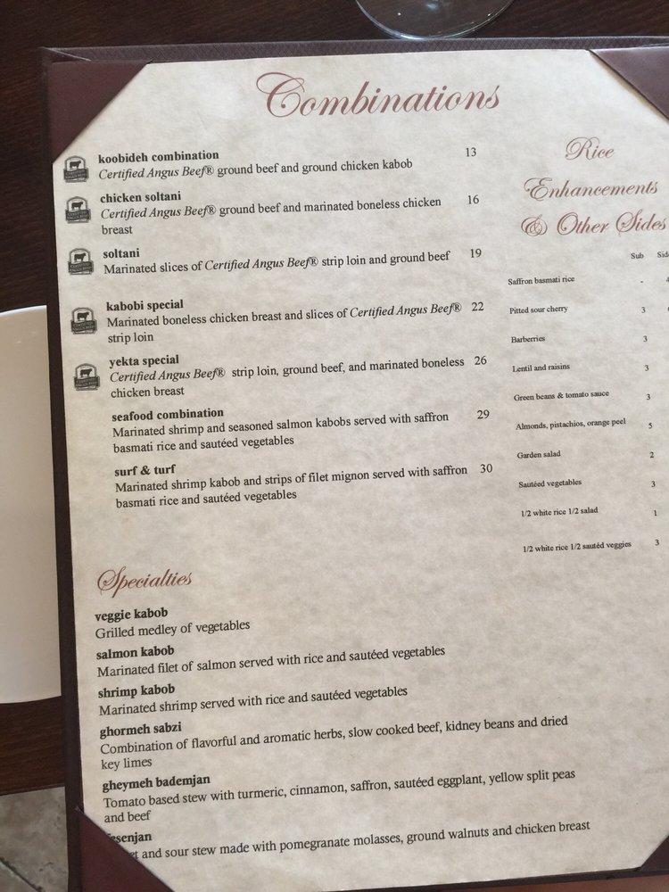 Yekta Restaurant Rockville Md Menu