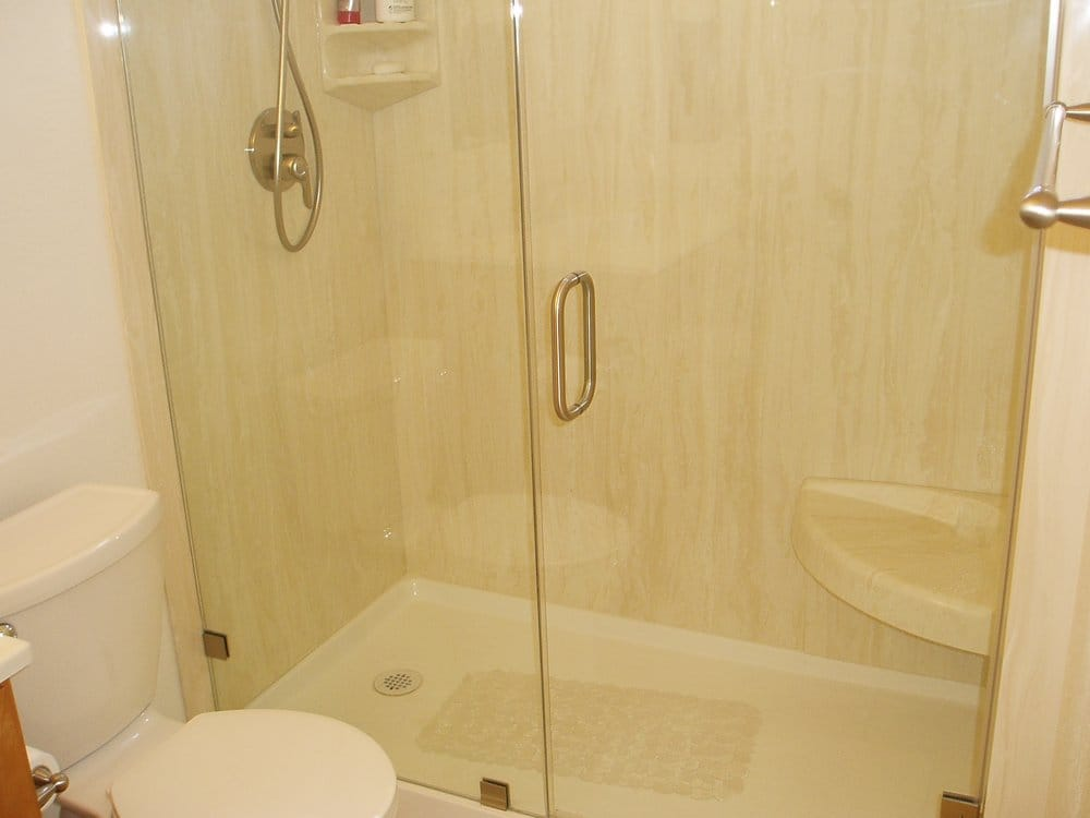 Shower with Cultured Marble Wall Panels, Frameless Shower Door - Yelp