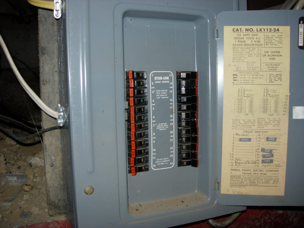 This is a Federal Pacific Stab Lok electrical panel that is ... Federal Pacific Stab Lok Electrical Panel on