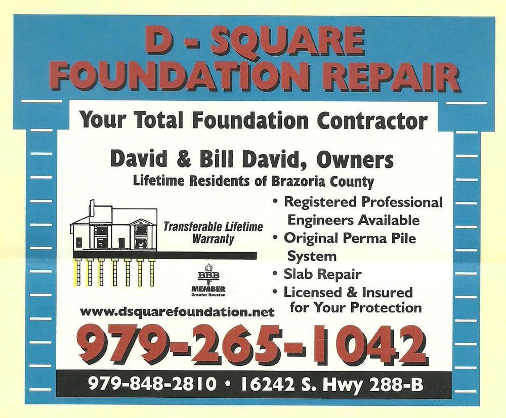 D Square Foundation Repair: 16242 Hwy 288B, Angleton, TX