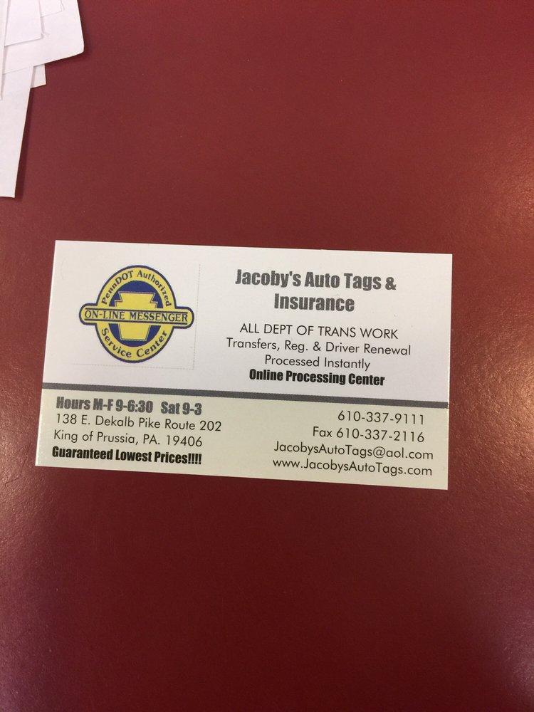 Jacoby's Auto Tags & Insurance: 138 E Dekalb Pike, King of Prussia, PA