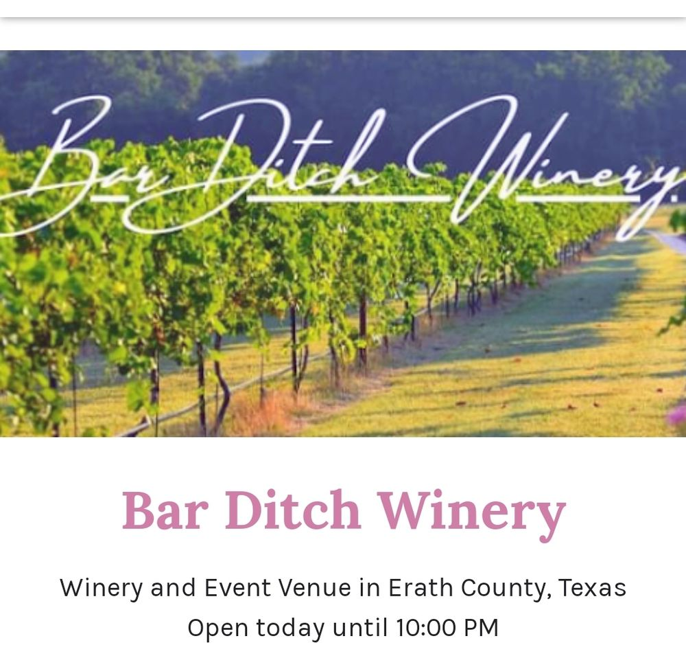 Bar Ditch Winery: 12836 W FM 8, Stephenville, TX