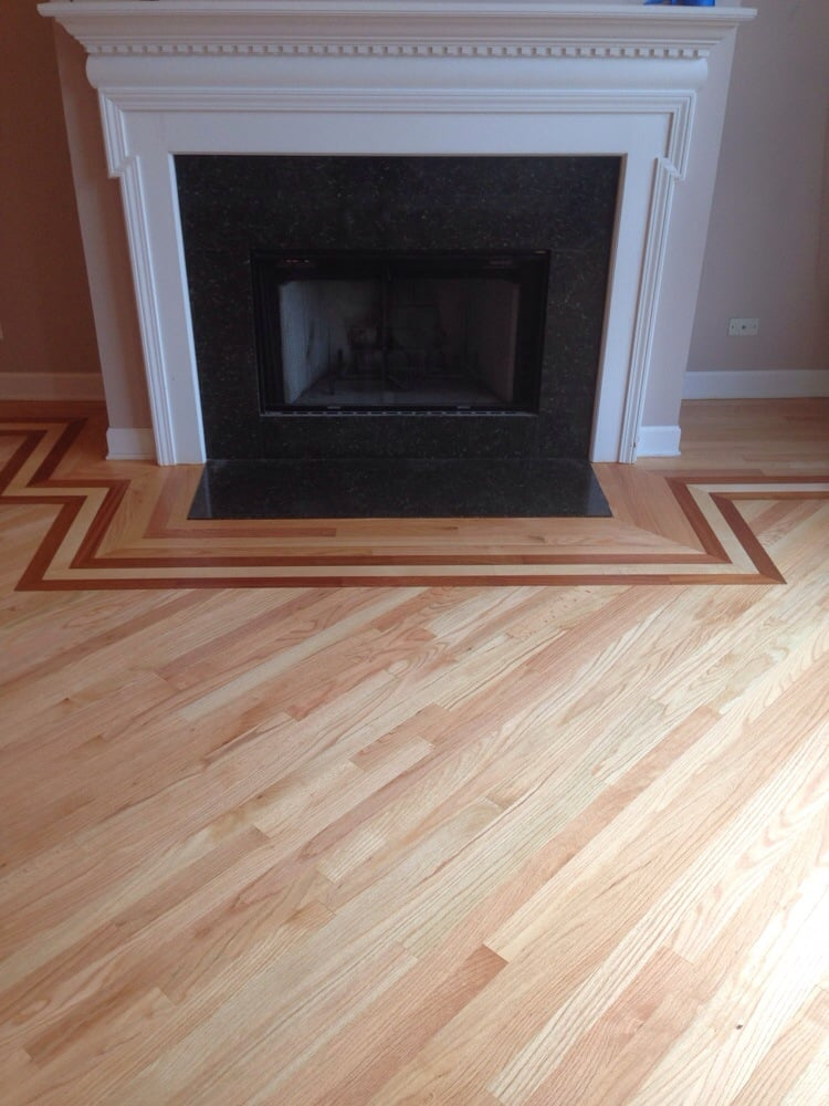 Border installation with maple and brazilian cherry yelp for Traditional flooring