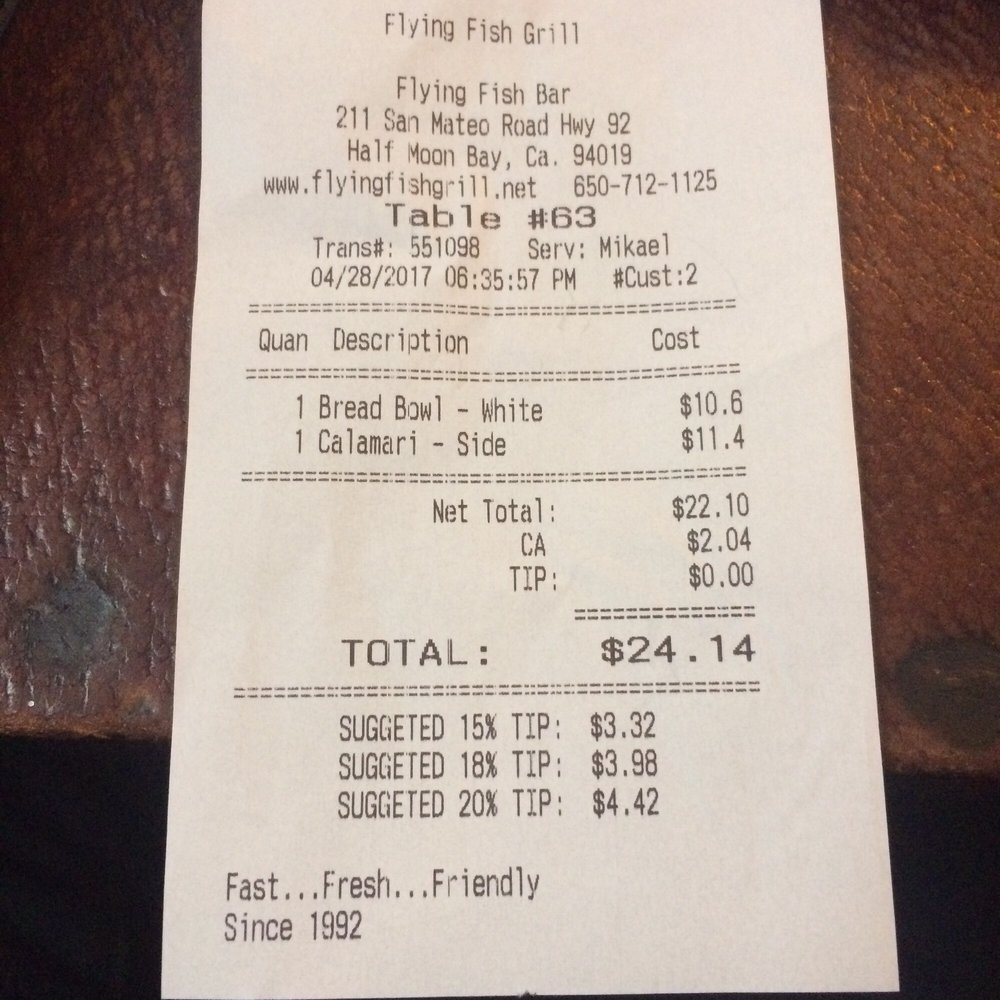 Can you see what 39 s wrong with this receipt always check for Flying fish bar and grill