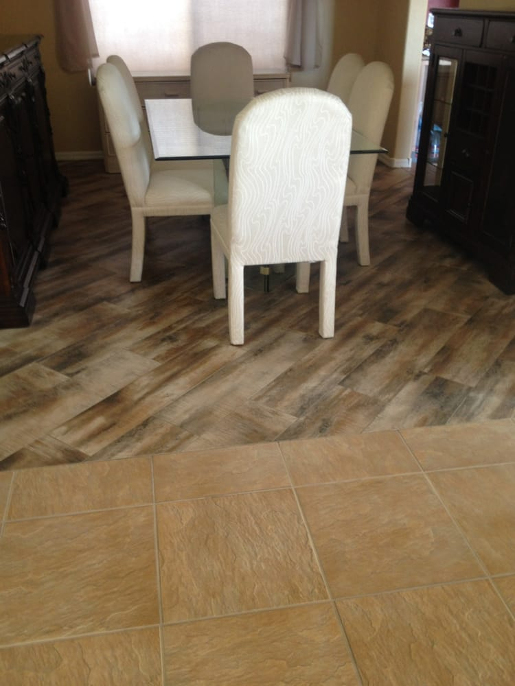 Mohawk torineha tile wood planks look installed on an for Hardwood floors las vegas