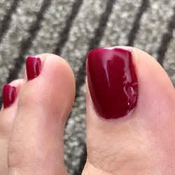 Photo of Pro Nails - Tulsa, OK, United States. Lumpy and uneven shellac