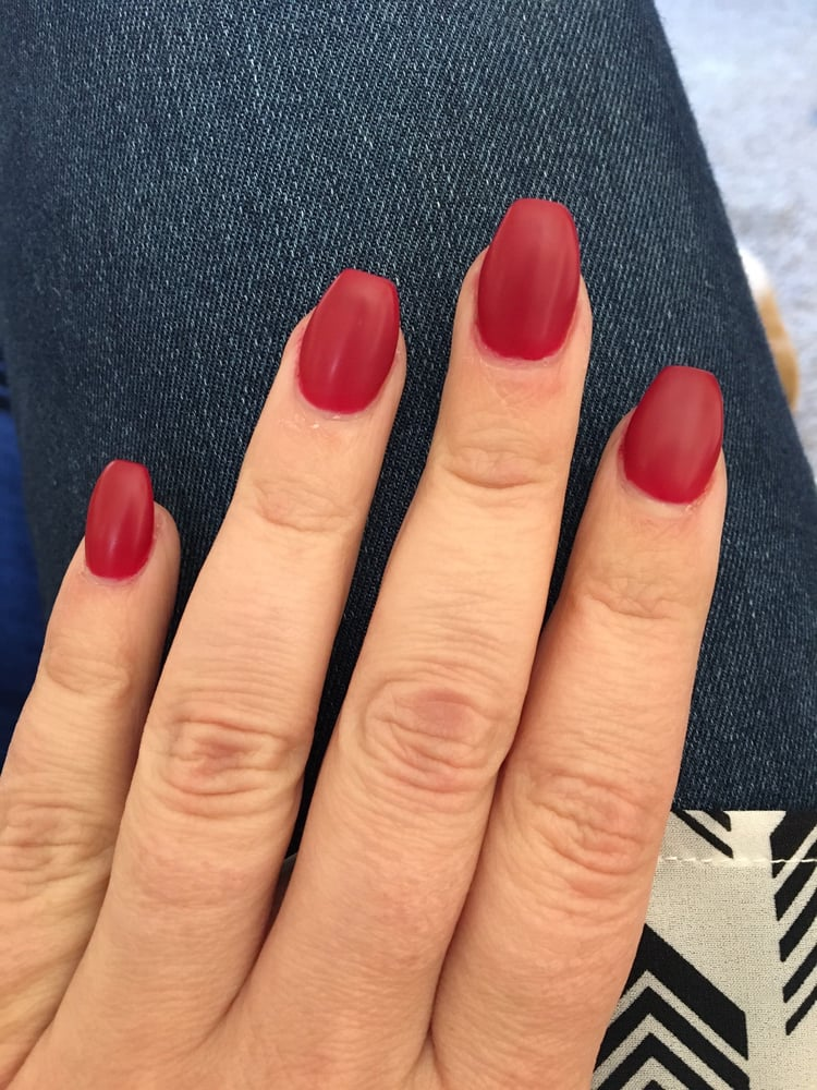 Matte red gel nails by Cindy - Yelp