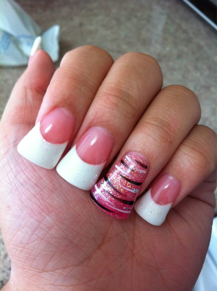Pink and glittery white powder nails. Pink glitter powder on ring ...