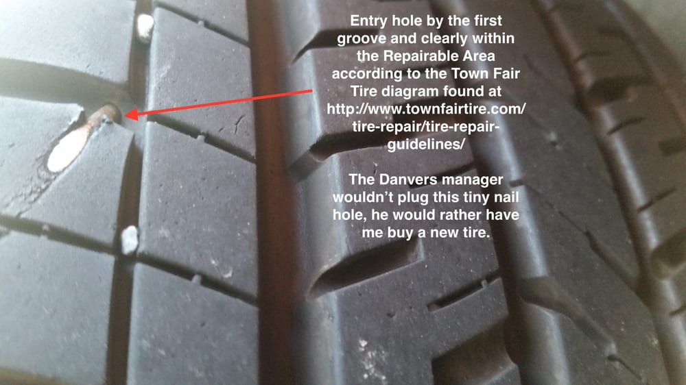 Small nail in my tire well within the repairable area, but the ...