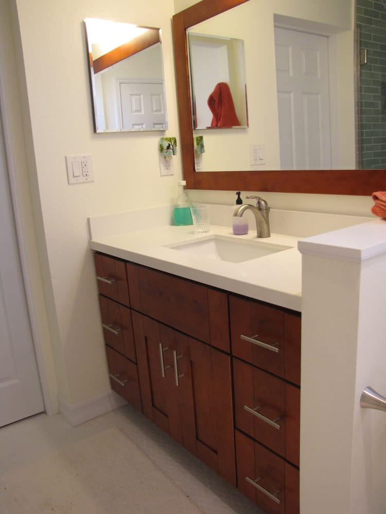Aiden vanity with white quartz counter b yelp for Bathroom cabinets yelp