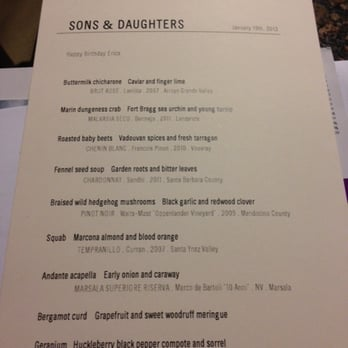 Sons And Daughters Restaurant Review