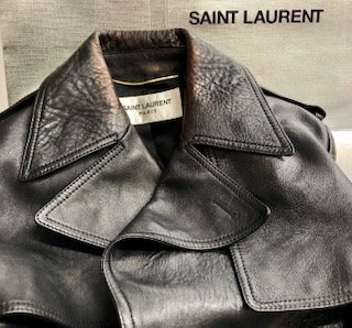 6ac19917aa BEFORE: Black leather YSL trench Leather color on Collar has worn ...