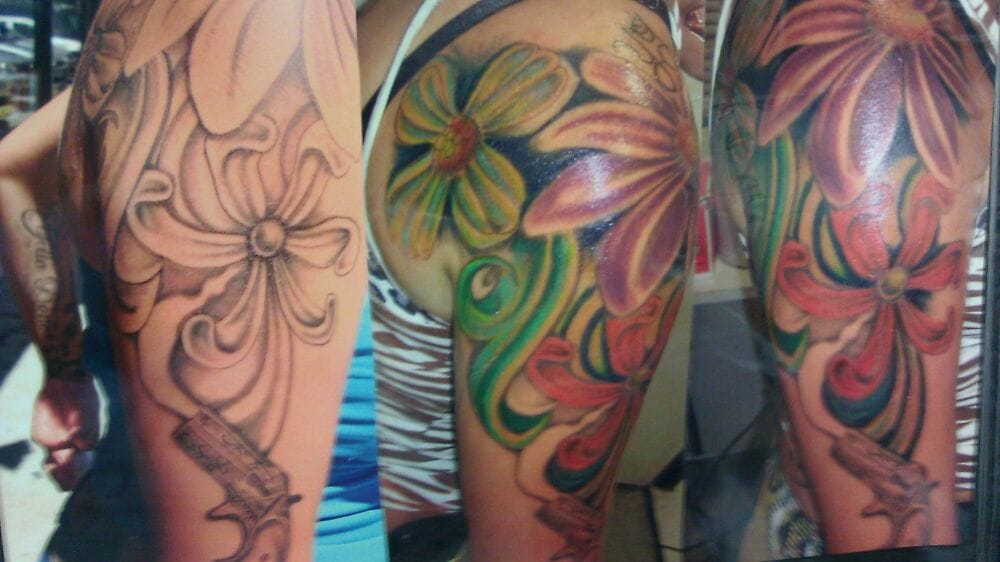 Colorful flower tattoo on arm yelp for Body electric tattoo piercing los angeles ca