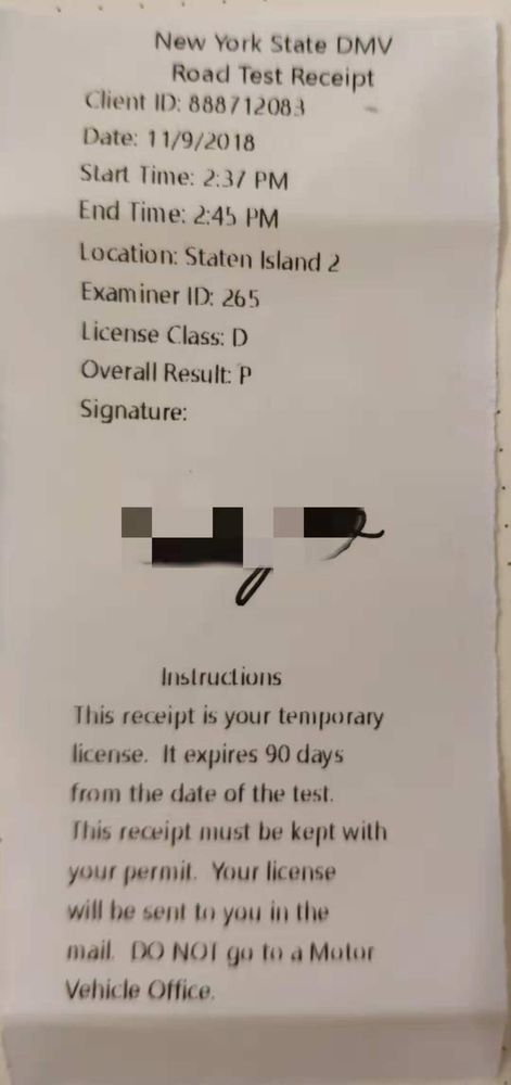 first try, full marks, NY road test  5 lessons for driving