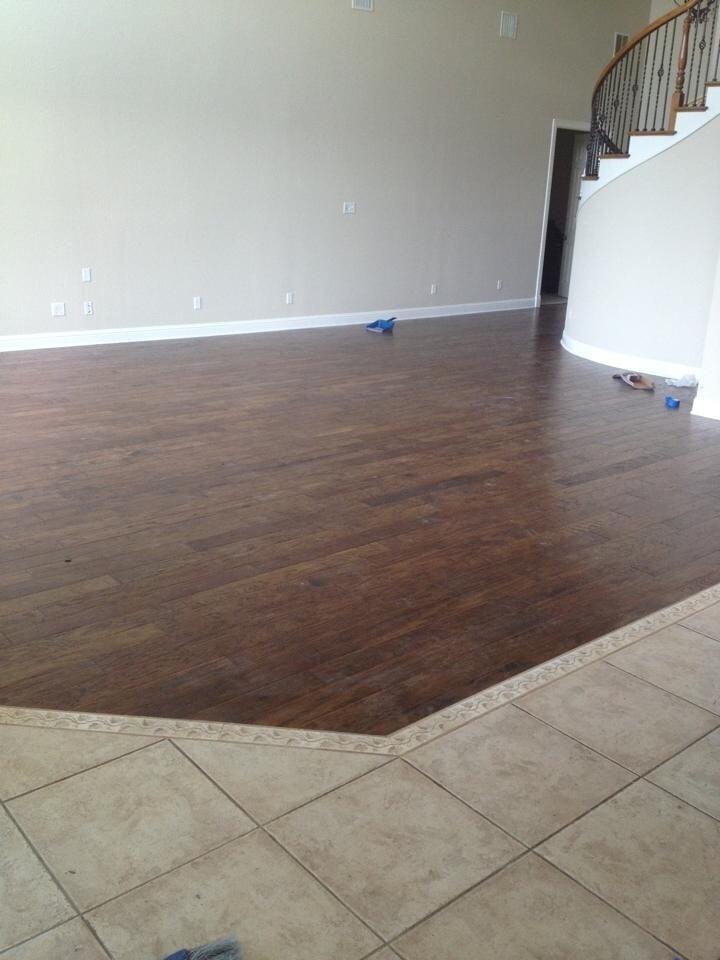 Engineered Wood Floor W Custom Tile Inlay Caulk Line Transition