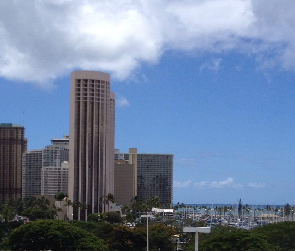 View from the restaurant - Hawaii Prince Hotel and Ala Wai Harbor - Yelp