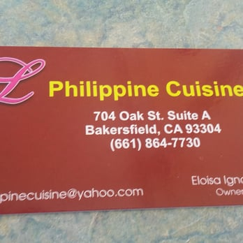 L philippine cuisine 97 photos 63 reviews filipino for Business cards bakersfield