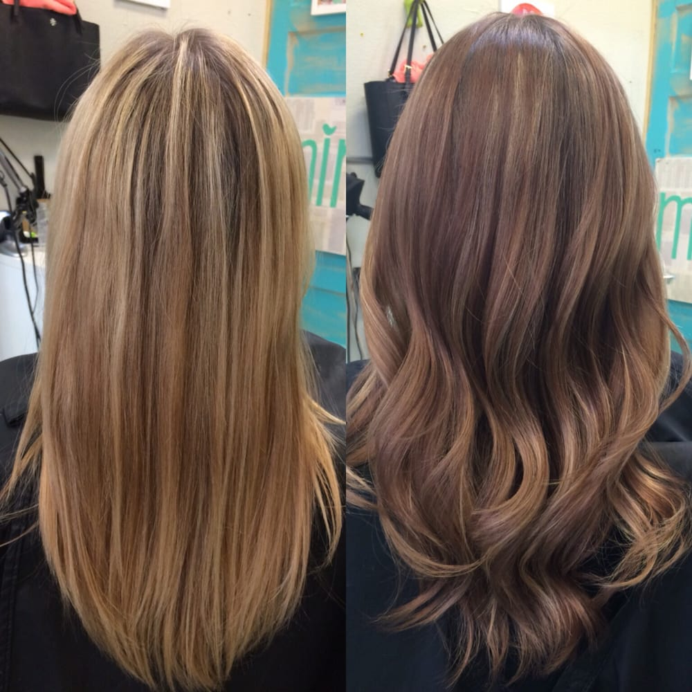 Balayage With Two Colors Lowlights And Balayage In