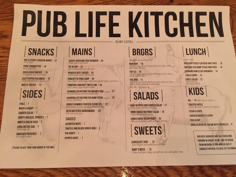 The menu at this gastro pub establishment yelp for Magic kitchen menu