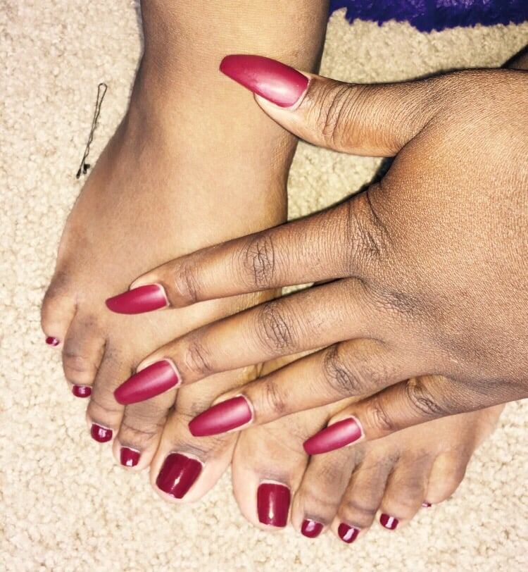 Burgundy ... Nails have the matte over lay - Yelp